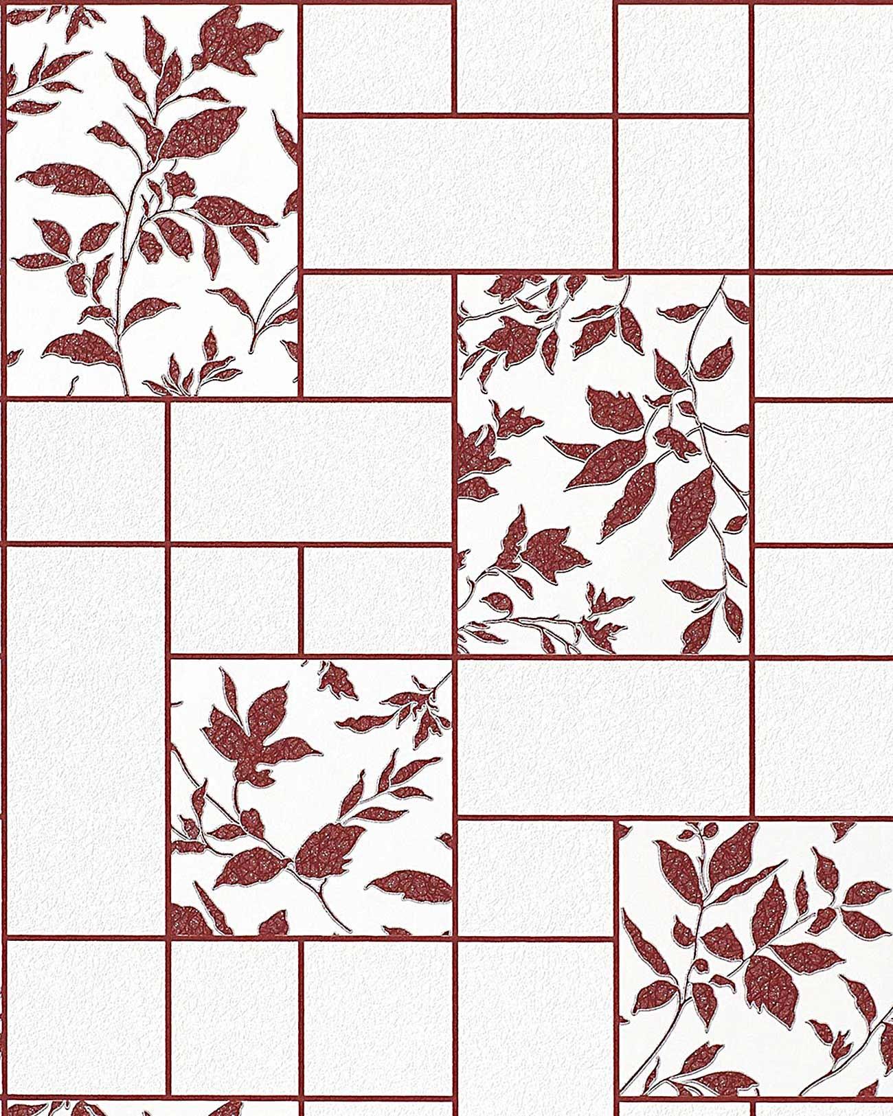 Florale Tapeten G?nstig : Silver and White Floral Kitchen Tile