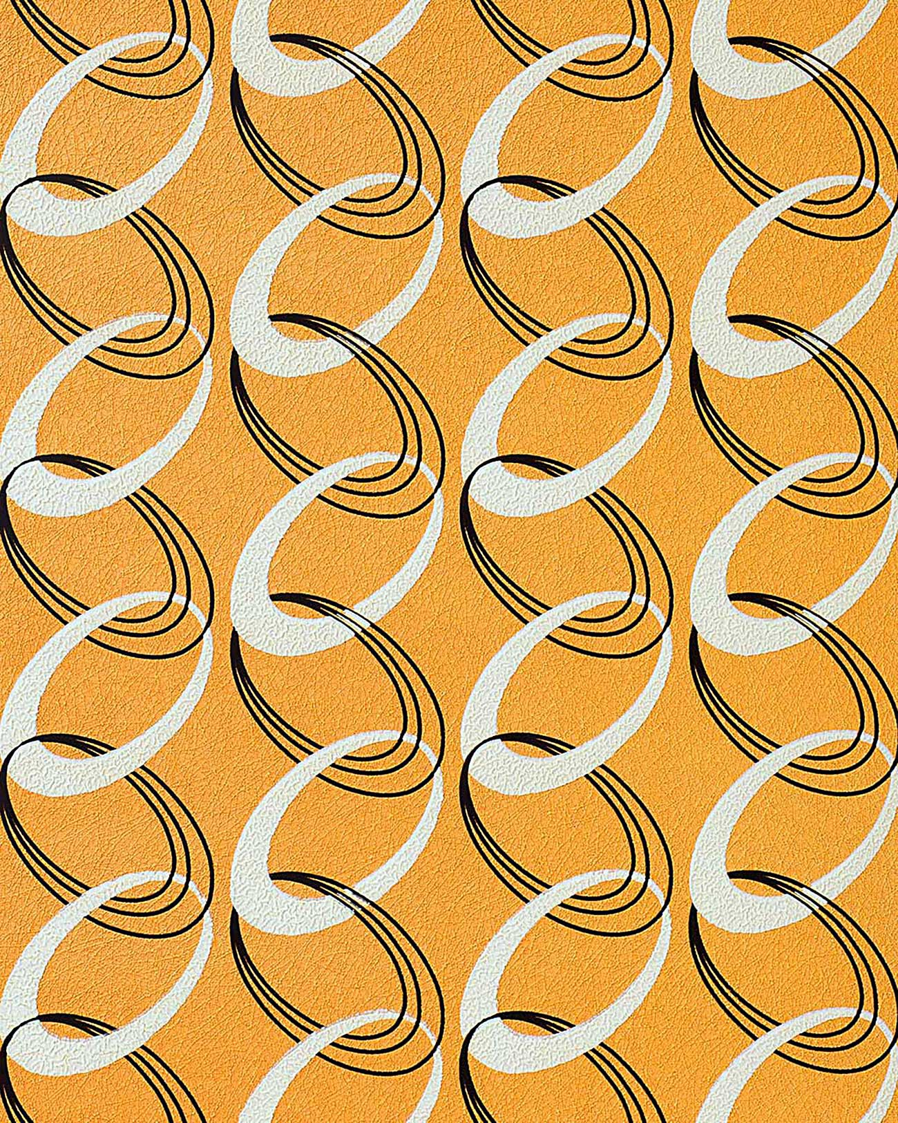 Tapetenmuster Retro Wallpaper 70s Style Retro Rings Textured